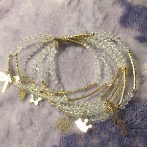 Jewelry - Artesanal Crystal Bracelet (7) w/ 18kt Gold Charms